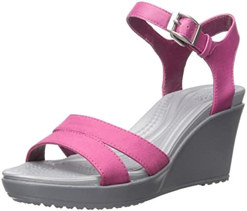 Crocs Women's Leigh II Ankle Strap Wedge Sandal, Berry, 4 M
