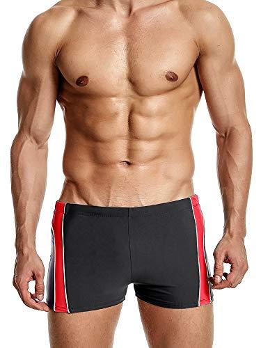 (ATTRACO Mens Swim Square Leg Boxer Briefs Beach Shorts Swimsuits Splices Red XXXL)