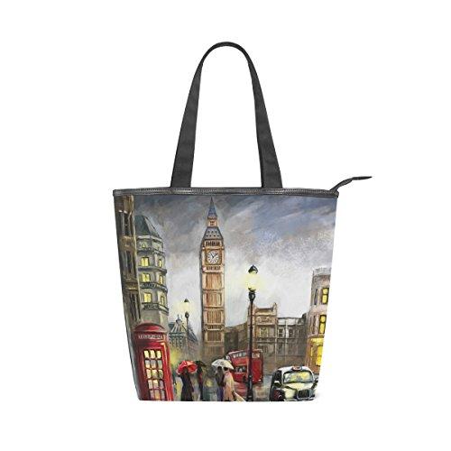 De Bolso De Londres Mujer Al Grande Pintura Óleo Lona Mydaily Mano Bolso De ben Para qOtB6a4Bw