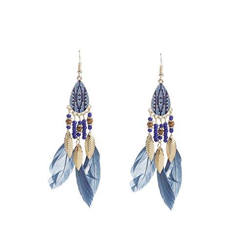 JINANLIPIN Women Drop Earrings Wedding Holiday Jewelry Bohemian Tassel Feather Dangling Earrings ()