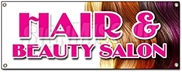 Amazon Com Hair Beauty Salon Banner Sign Manicure Hairdresser Stylist Walk In Office Products