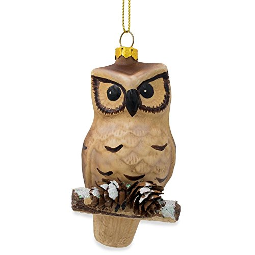 BestPysanky Owl on Branch with Pine Cones Glass Christmas Ornament 4.25 Inches
