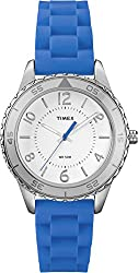 Timex Women's | Blue Silicone Strap Silver-Tone Case Analog Casual Watch T2P021