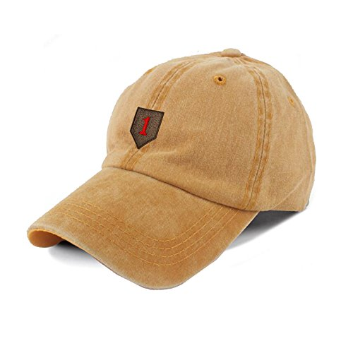 Jacqne US Army 1st Infantry Division Embroidery 100% Cotton Pigment Dyed Low Profile Six Panel Cap Hat