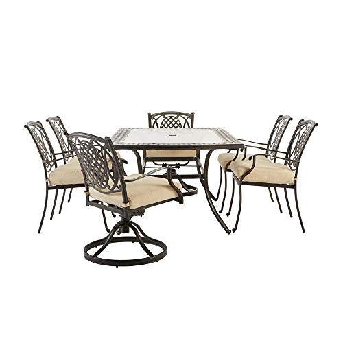 Hampton Bay Belcourt 7-Piece Metal Outdoor Dining Set with CushionGuard Oatmeal Cushions ()