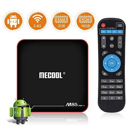 Sidiwen Android 7.1.2 TV Box MECOOL M8S PRO W 2GB RAM 16GB ROM Amlogic S905W Quad Core Smart Set Top Box Support 2.4G WiFi 10/100M Ethernet 3D 4K UHD OTA Update Internet Media Player