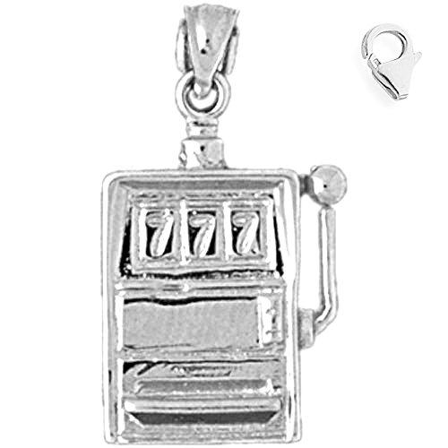 Jewels Obsession Slot Machine Charm | 14K White Gold Slot Machine Charm Pendant - 26mm