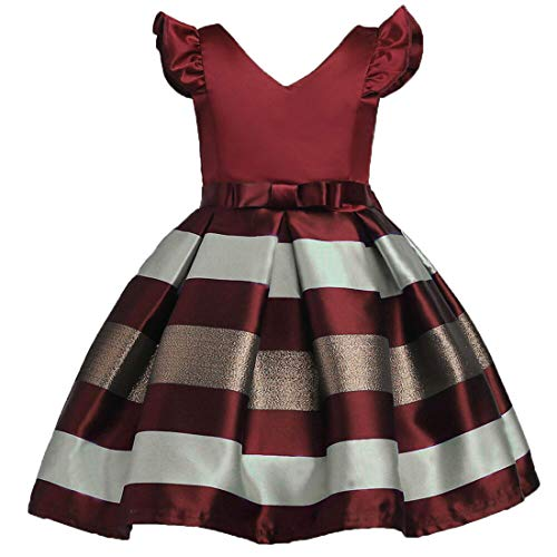 ZAH Girl Dress Kids Ruffles Lace Party Wedding Bridesmaid Dresses(Burgundy,7-8Y)]()