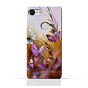 AMC Google Google Pixel 3 TPU Silicone Protective Case with Butterfly Oil Paint Pattern Design