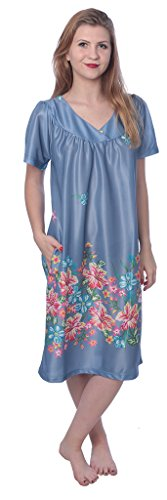 Beverly Rock Women's Short Sleeve Housecoat Floral Duster Nightgown Y18_XU9004 Indigo 2X by Beverly Rock (Image #5)
