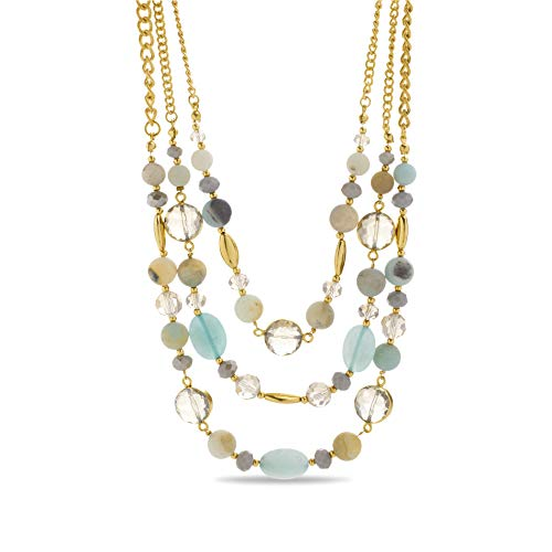 (Catherine Malandrino Aqua-Tone Rhinestone and Beaded Triple Layer Yellow Gold-Tone 18
