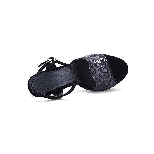 Amoonyfashion Damesmengsel Materialen Solide Gesp Open Teen Spikes Stiletto Sandalen Zwart