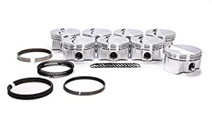 CP Pistons (BC1021-060-8) Bullet Series 4.060 Bore Flat Top Piston Set with Rings for Small Block Chevy Engine
