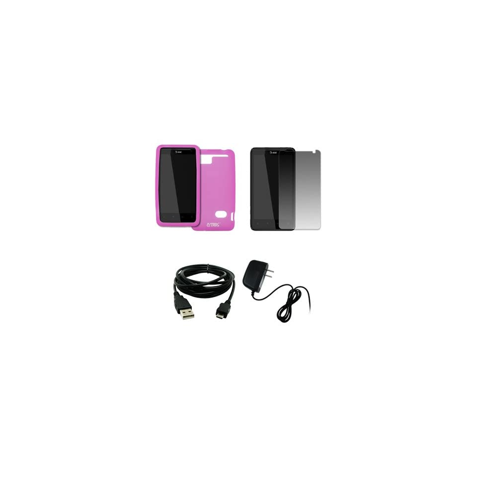 EMPIRE AT&T HTC Holiday Hot Pink Silicone Skin Case Cover + Screen Protector + Home Wall Charger + USB Data Cable [EMPIRE Packaging]