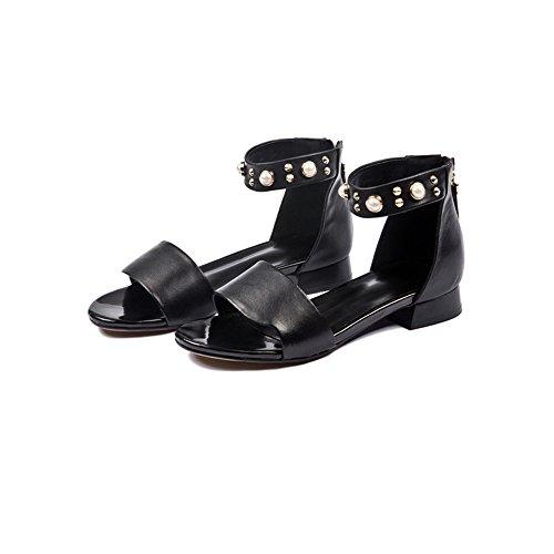 XIAOLIN 粗い靴で高品質の女性の夏のローヒールサンダル (色 : ブラック, サイズ さいず : EU35/UK3/CN34)