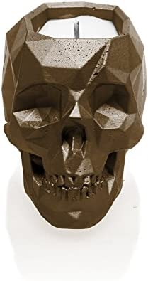 Candellana Candles Candlefort Concrete Candle- Skull Brown, Scent: Orient Vanilla
