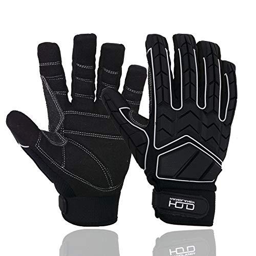 HANDLANDY Anti Vibration Gloves, SBR Padding, TPR Protector Impact Gloves, Men Mechanic Work Gloves (Large)