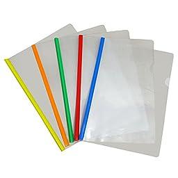 Transparent Plastic Sliding Bar File Folder For A4 Report Display Cover Organizer Binder Pack of 25 - Multicolour