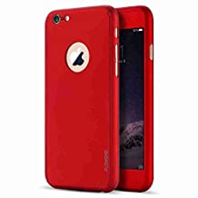 iPhone 6/6S Case, FLOVEME 4.7 inch 2 in 1 360 Degree All-Round Protection [Slim Fit] PC Hard Cover with Tempered Glass Screen Protector for Apple iPhone 6 and iPhone 6S - Red