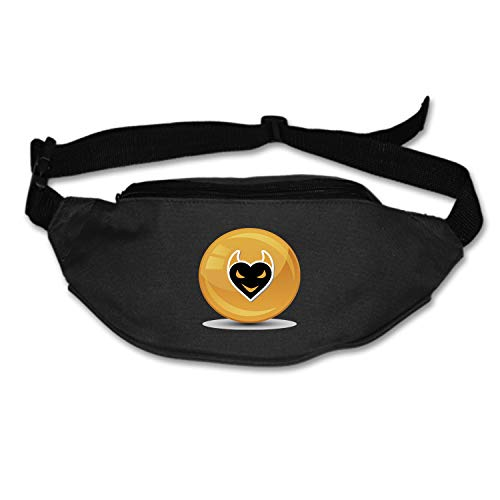 Running Belt Waist Pack, Sports Runner Bag Pouch Adjustable Fanny Pack iPhone Samsung, Sweatproof Workout Waist Bag Men Women Hiking Fitness Jogging -Devil Halloween Heart Black Icon Signet]()