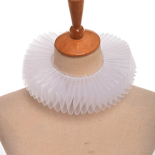 Collar Neck - GRACEART White Elizabethan Dickens Ruffle Neck Clown Collar White