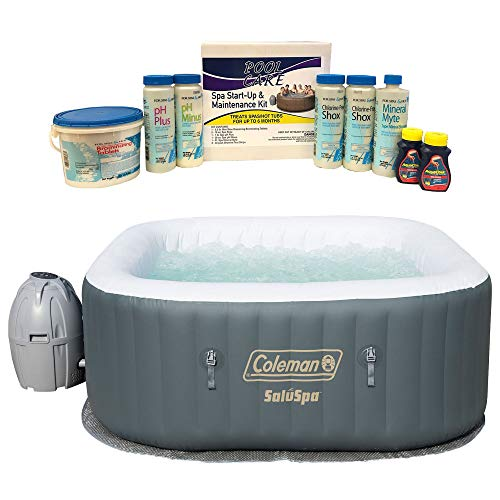 (Coleman SaluSpa 4 Person Portable Inflatable Outdoor AirJet Spa Hot Tub, GrayQualco QLC-14895 6 Month Spa Hot Tub Chemical Kit with Bromine + Shock Treatment)
