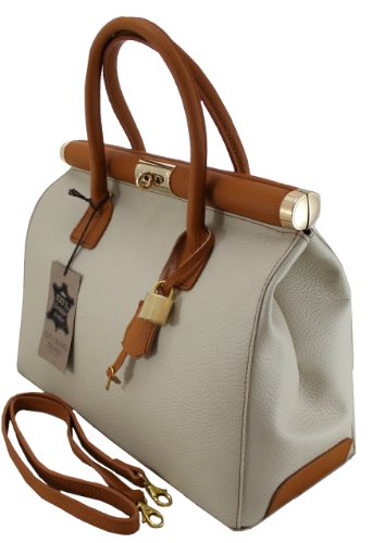 with shoulder leather by Satchel Beige handles 35x28x16cm Woman Bicolored strap in Made Italy and Elegant Genuine Bag CTM w7zYqxpz