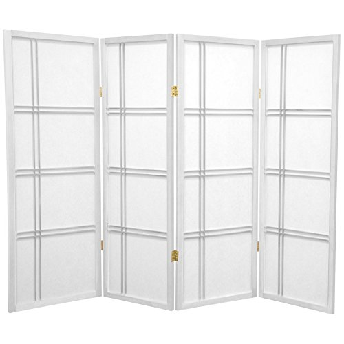 Oriental Furniture 4 ft. Tall Double Cross Shoji Screen - White - 4 Panels (Asian Screen Lamp)