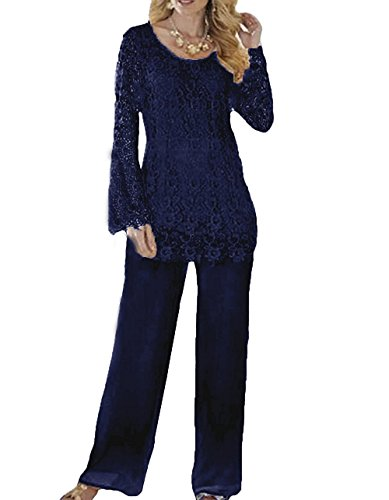 Dislax Two Piece Lace Mother Of Bride Pants Suit Navy US 16