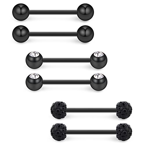 (Ruifan 16G 9/16Inch Crystal & Jeweled Clear CZ Ball Nipple Tongue Shield Ring & Stainless Steel Straight Barbell Body Piercing Jewelry Retainer 6PCS - Black )