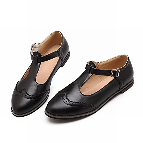 Latasa Damesmode T-strap Gesp Platte Schoenen, Casual Schoenen Zwart