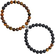 Sunssy 1Pair Magnetic Couples Bracelets for Women Men Charm Beads Matching Bracelets for Couples Connect Brace