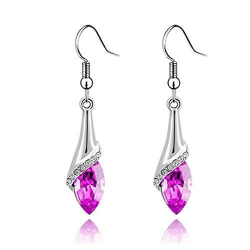 Aunimeifly Women 1 Pair Austrian Crystal Horse Eyering Earrings Cut Teardrop Wedding Earrings Gift (Hot Pink)