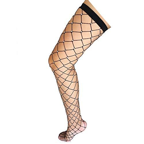 Black Net Diamond - Women's Thigh High Stockings Rhinestone Fishnet Elastic Stockings Big Fish Net Tights Pantyhose (Black)