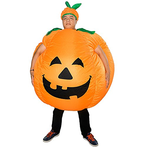 HUAYUARTS Pumpkin Inflatable Costume Blow up Costume Orange Fancy Dress Adult Jumpsuit Halloween Cosplay Outfit Gift -