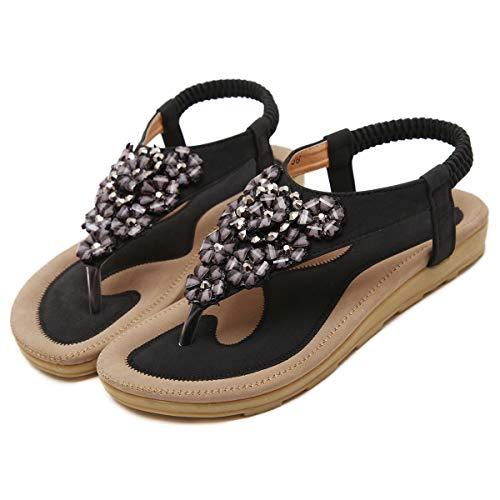 - iCKER Womens Thong Flat Sandals Beach Rhinestone Shiny Beads Rhinestone for Summer Holiday-Flower Black-8