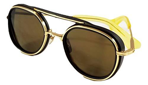 mujeres 19017 sol Gafas Spacecraft hombres en de marco redondo para y y marrón Dita cepillado dorado lente AgBqn