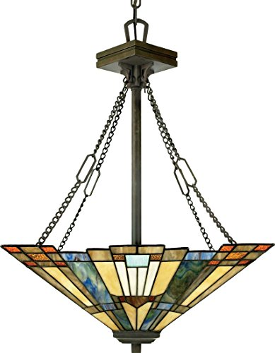 Classic Style Pendant - Quoizel TFIK2817VA Inglenook Tiffany Bowl Pendant Lighting, 3-Light, 300 Watts, Valiant Bronze (26