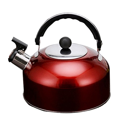 Baoblaze Portable Stainless steel Whistling Kettle Stainless Steel Camping Kitchen Tea Coffee Water Pot - 5 Colors to Choose - red