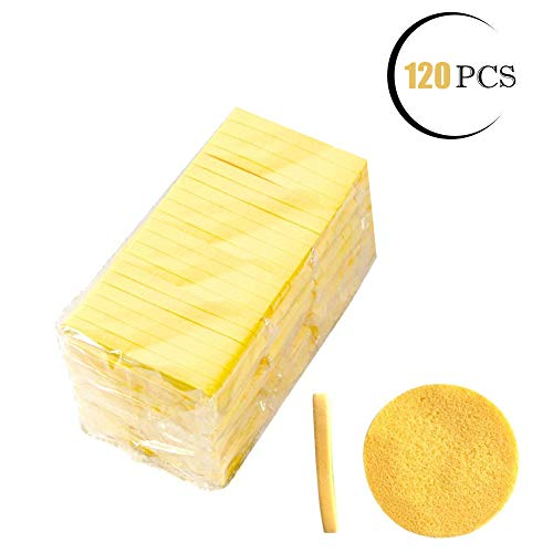 Facial Sponge Compressed,PVA Professional Makeup Removal Wash Round Face Sponge Pads Exfoliating Cleansing for Women (120 Pcs, Yellow) (10 Cellulose Facial Sponges)