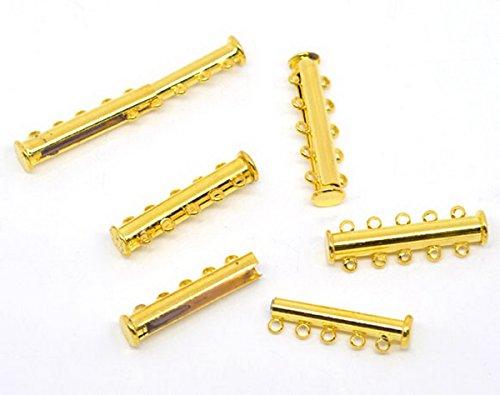 Housweety Bijoux Accessoires -5 sets Fermoirs magnetique 5 rangs Couleur dore 30x10mm