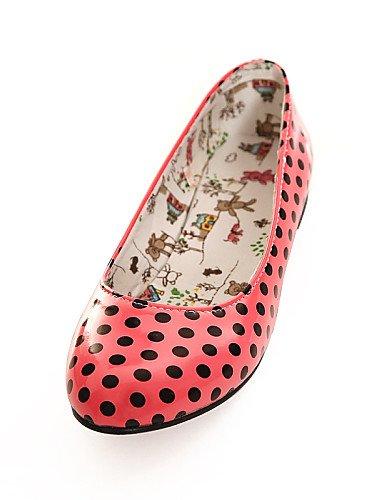 Flats us6 5 eu37 rosa sintética Casual piel de 5 redonda zapatos uk4 red 5 7 plano punta Caqui mujer cn37 talón PDX rojo naranja de Tfxwvv