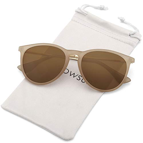 WOWSUN Polarized Sunglasses for Women Girl Classic Vintage Round Style Matte Khaki Frame Tinted Brown ()
