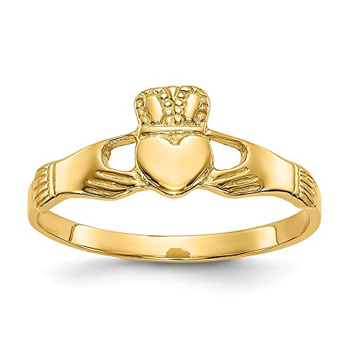 14k Yellow Gold Ladies Irish Claddagh Celtic Knot Band Ring Size 6.00 Fine Jewelry Gifts For Women For - Claddagh Yellow Ring Ladies Gold