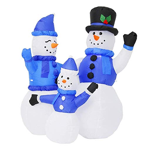 Awesome Shopper Blue Snowman Family Christmas Inflatable Air Blown LED Yard Garden Party Decoration