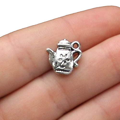 - 8 Teapot Charms Antique Silver Tone 2 Sided with Flower Details - SC1443