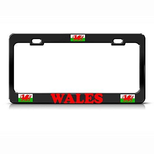 (Wales Flag Heavy Duty Metal Black License Plate Frame Tag Border Perfect for Men Women Car garadge Decor)