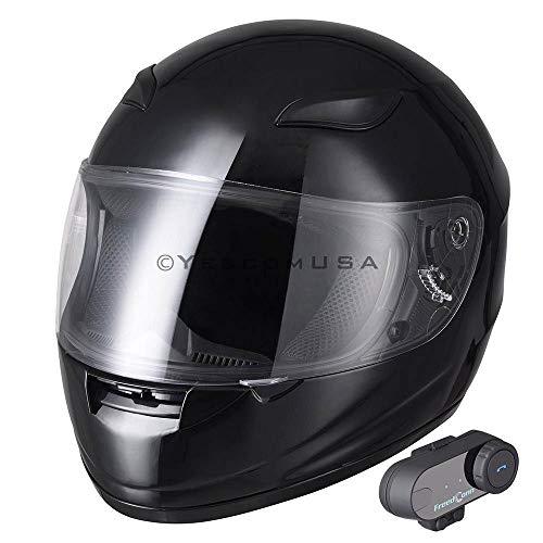 DOT Gloss Black Motorcycle Full Face Helmet w/Bluetooth Headset Modular Hands-Free Flip Up Motorbike Wireless Intercom MP3 FM Radio (Size M)