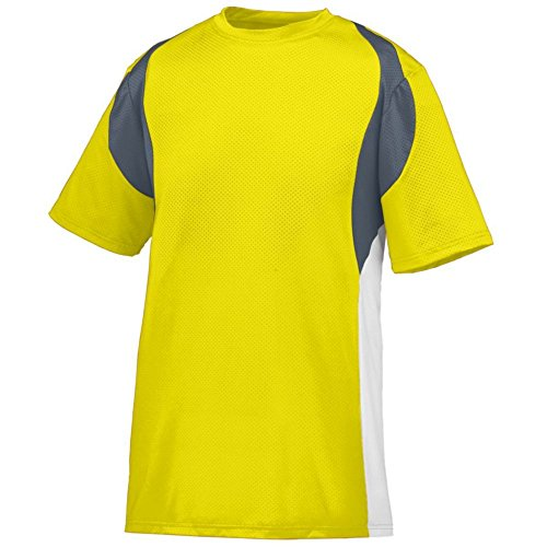 Augusta Activewear Quasar Jersey, Power Yellow/Graphite/White, XXX Large