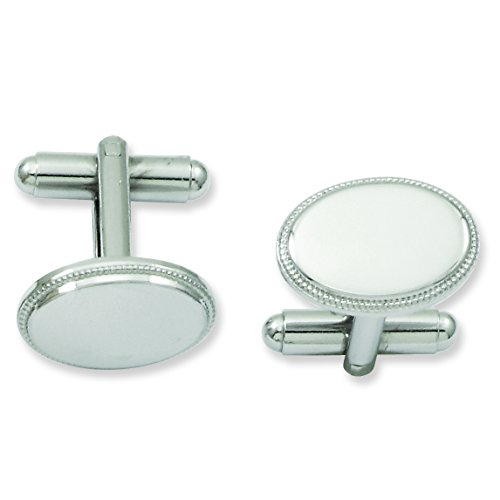 Shop4Silver Rhodium-Plated Oval Beaded Cuff Links